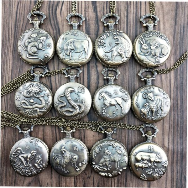 2019 Chinese Zodiac Quartz Pocket Watch Necklace Pendant Clock For Mens Women's Best Gifts Orologio Uomo Hot Selling