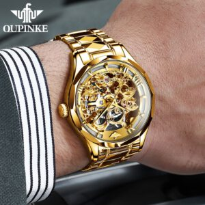 Luxury Men Mechanical Wristwatch Automatic Watch Men Skeleton OUPINKE Tungsten steel Sapphire Watch relogio masculino 3169