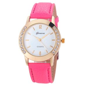 Geneva Fashion Women Diamond Analog Leather Quartz Wrist Watch Watches BK