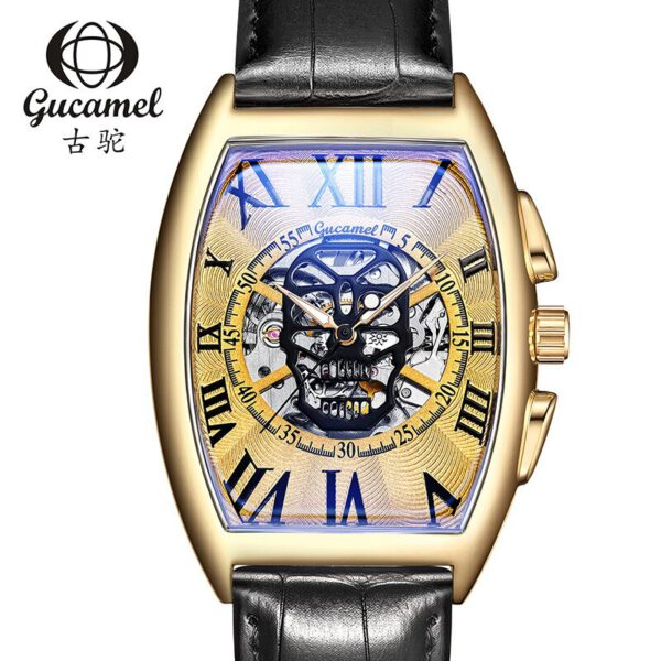 Transparent Skeleton Automatic Mechanical Watch Men Genuine Leather Belt Top Brand Luxury Self Winding Mens Retro Watch Clock