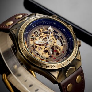 Leather Mechanical Watch Men Automatic Steampunk Watch Mens Skeleton Watches Bronze Transparent Vintage Sport Wristwatch Male