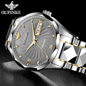 OUPINKE Men Automatic Mechanical Watch Top Brand Luxury Sapphire Glass Tungsten Steel Date Luminous Waterproof Wrist Watch