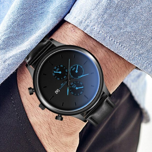 Men Business Watch Black Staineless Steel Leather Strap Luxury Date Wrist Watch Mens Sport Watches Clock Casual Mens Watches