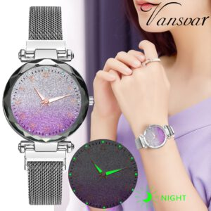 Vansvar Luxury Women Watches Bracelet Crystal Silver Stainless Steel Mesh Strap Quartz Magnet Buckle Sky Luminous Hands Watch