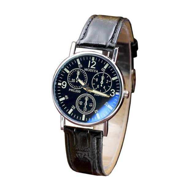 Top Brand Luxury Fashion Faux Leather Mens Analog Quarts Watches Blue Ray Men Wrist Watch Mens Watches Casual Watch Clock