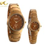 Lancardo New Luxury Brand Lovers Watch Men Women Dress Calendar Quartz Watches Coffee Color Tungsten Steel Waterproof Watch
