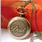 Retro Pocket Watch NEW Vintage Charm Unisex Chain Retro The Greatest Dad Pocket Watch Necklace For Grandpa Dad Gifts