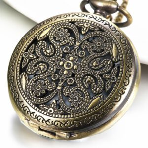 "Lancardo 1.85"" Hot Selling Vintage Aulic Hollow Carving Quartz Men Pocket Watch Necklace Relogio De Bolso Gift Quartz Watch"