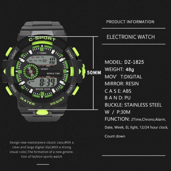 LED Digital Watches Men Sports 30M Professional Waterproof Date Military Rubber Quartz Luminous 2019 Fashion Sports Watch