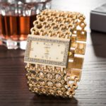 2020 Brand New Women Watch Luxury Chain Rhinestone Fashion Gold Wristwatch Alloy Square Watch Student Bracelet Relogios Feminino