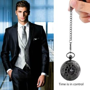 Unisex Pocket Watch Roman Pattern Fashion Steampunk Retro Vintage Quartz Hollow Pointer with Roman numerals Display relogio