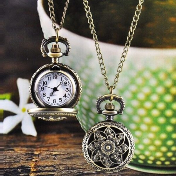 Popular Retro Pocket Watch Fashion Vintage Bronze Quartz Pocket Watch Pendant Chain Necklace Watch Montres hommes et femmes 03*