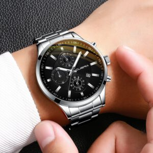 CUENA New Men Fashion Military Stainless Steel Date Sport Quartz Analog Wrist Watch Luxury Date Business Clock Relogio Masculino