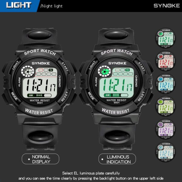 SYNOKE Kids Watches Boys Girls Multi-Function Life Waterproof Watch Digital Sports Watch Pu Strap Electronic Watches Gift 40*