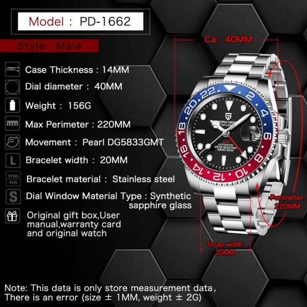 PAGANI DESIGN Sapphire Glass 40MM Ceramic GMT Mechanical Watches 100m Waterproof Classic Fashion Luxury Automatic Watch