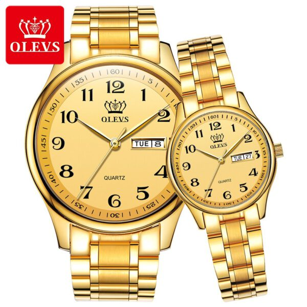 OLEVS Lovers Watches Luxury Quartz Wrist Watch for Men and Women Calender Week Steel Saat Reloj Mujer Hombre Couple Watch